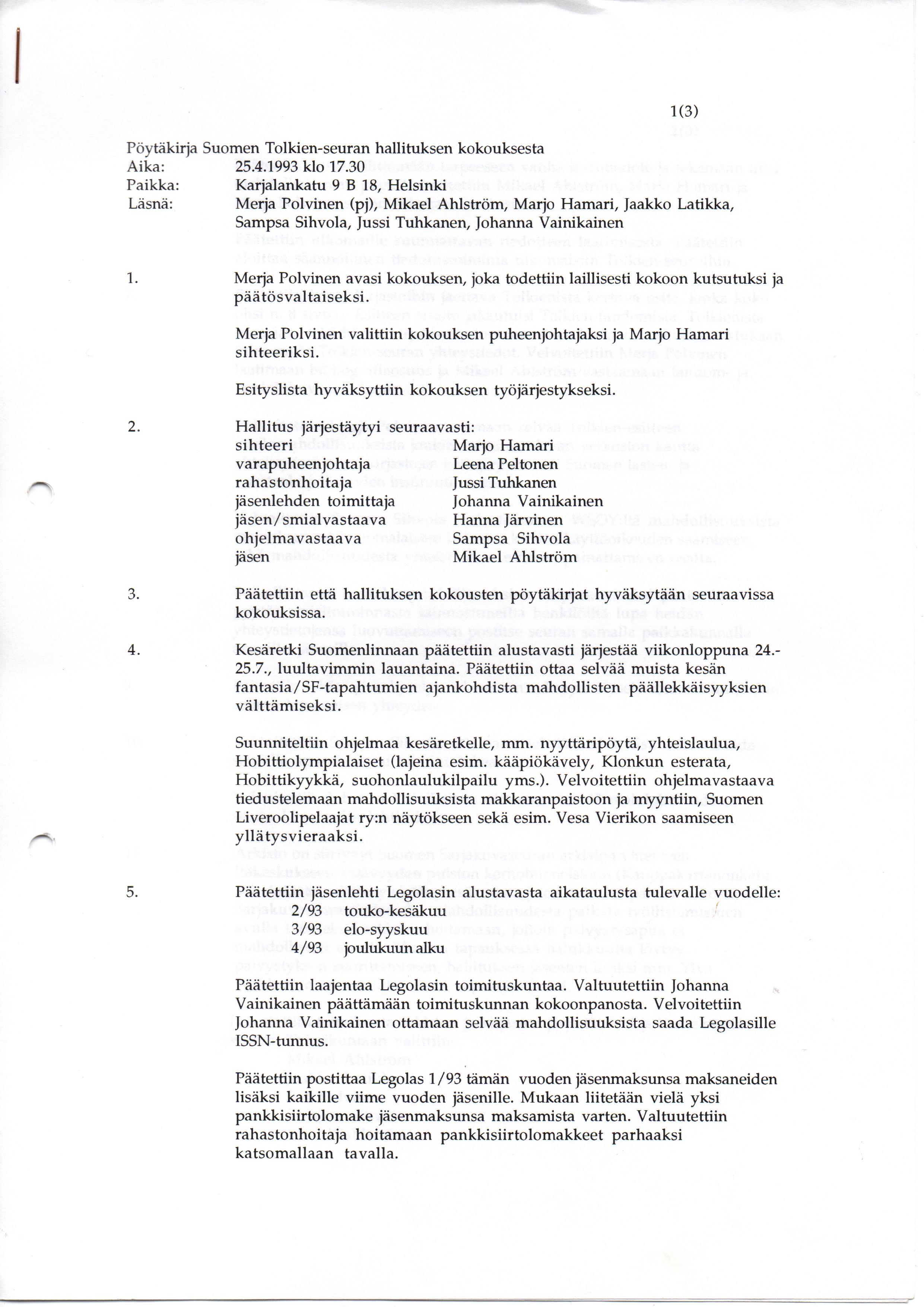 johtokunnan järjestäytymiskokous esityslista